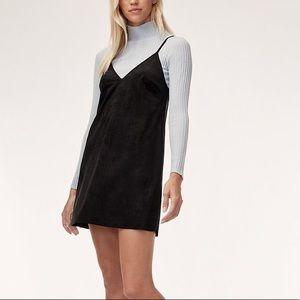 Aritzia Wilfred Free Faux Suede Mini Dress Black